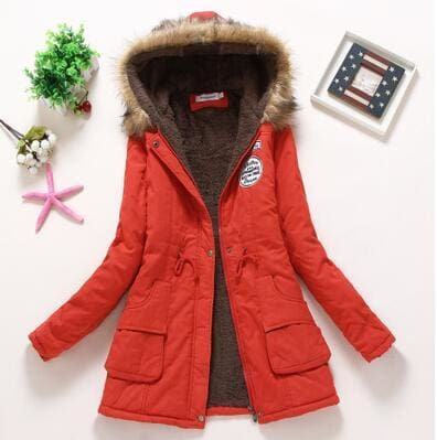 new winter military coats women cotton wadded hooded jacket medium-long casual parka thickness plus red / S