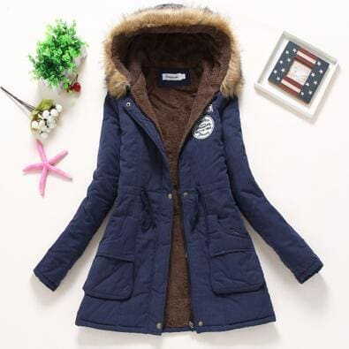 new winter military coats women cotton wadded hooded jacket medium-long casual parka thickness plus navy blue / S