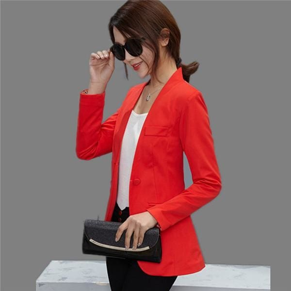 New Women Blazer Spring Slim Top Elegant Double Breasted Short Design Clothes Blazer Suit Female 1084 Red / S