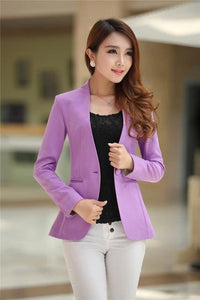 New Women Blazer Spring Slim Top Elegant Double Breasted Short Design Clothes Blazer Suit Female 1084 Purple / S