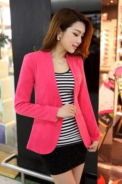 New Women Blazer Spring Slim Top Elegant Double Breasted Short Design Clothes Blazer Suit Female 1084Rose / S