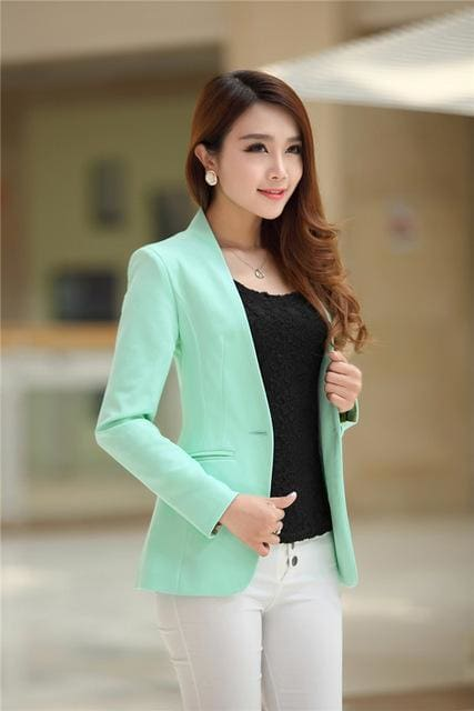 New Women Blazer Spring Slim Top Elegant Double Breasted Short Design Clothes Blazer Suit Female 1084 Green / S