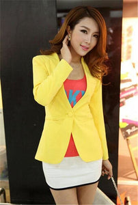New Women Blazer Spring Slim Top Elegant Double Breasted Short Design Clothes Blazer Suit Female 1084Yellow / S