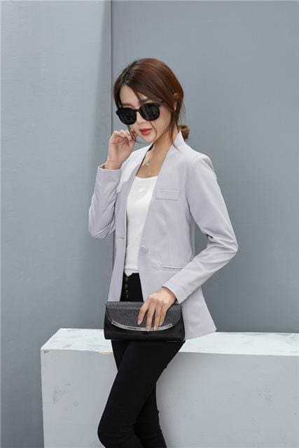 New Women Blazer Spring Slim Top Elegant Double Breasted Short Design Clothes Blazer Suit Female 1084 Light Gray / S