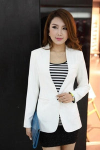 New Women Blazer Spring Slim Top Elegant Double Breasted Short Design Clothes Blazer Suit Female 1084White / S