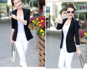 New Women Blazer Spring Slim Top Elegant Double Breasted Short Design Clothes Blazer Suit Female 1084 Black / S