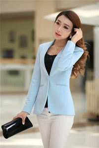 New Women Blazer Spring Slim Top Elegant Double Breasted Short Design Clothes Blazer Suit Female 1084 Light Blue / S