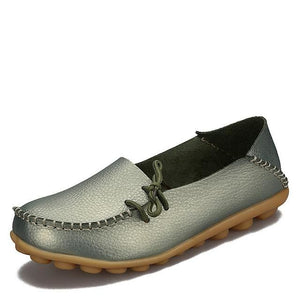 New Women Real Leather Shoes Moccasins Mother Loafers Soft Leisure Flats Female Driving Casual