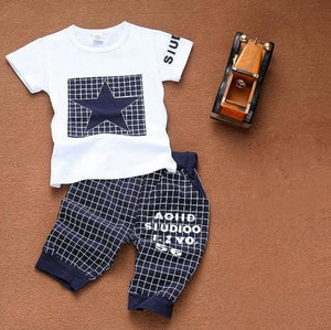 Newborn Baby Boy Clothes Star Printed Kids Clothing Set Summer Tops+Pants Suit Outfit Tiny Cottons Navy / 18M