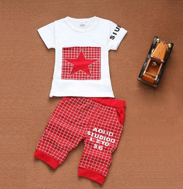 Newborn Baby Boy Clothes Star Printed Kids Clothing Set Summer Tops+Pants Suit Outfit Tiny Cottons Red / 18M