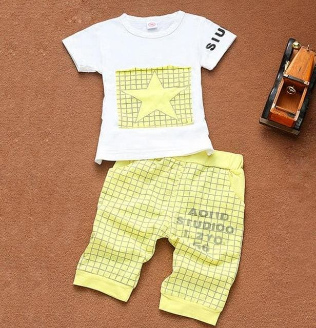 Newborn Baby Boy Clothes Star Printed Kids Clothing Set Summer Tops+Pants Suit Outfit Tiny Cottons Yellow / 18M