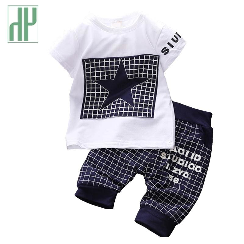 Newborn Baby Boy Clothes Star Printed Kids Clothing Set Summer Tops+Pants Suit Outfit Tiny Cottons