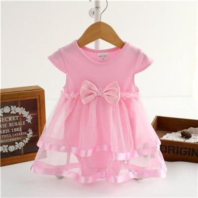 NewBorn Baby Dress Summer Cotton Bow Baby Rompers For girls Summer Kids Infant Clothes Baby Girls - MBMCITY