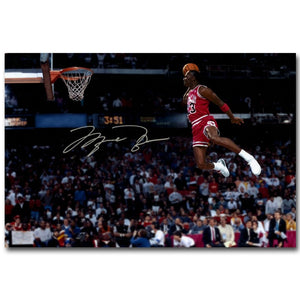 NICOLESHENTING Michael Jordan Dunks Basketball Art Silk Fabric Poster Print Sports Picture for Room.