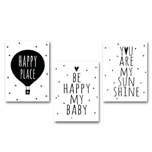 Nordic Art Cartoon Poster Minimalist Canvas Painting Motivational Funny Quotes Wall Picture Modern 15x20cm No Frame / 3 pcs Set