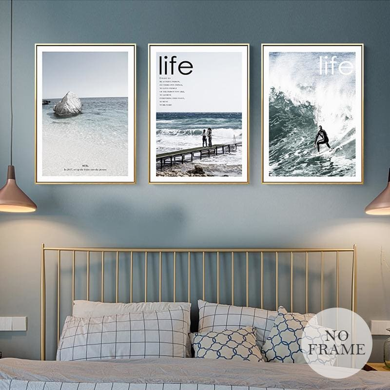 Nordic Style Poster Surfing Canvas Painting Ocean Landscape Wall Art Pictures For Living Room Home