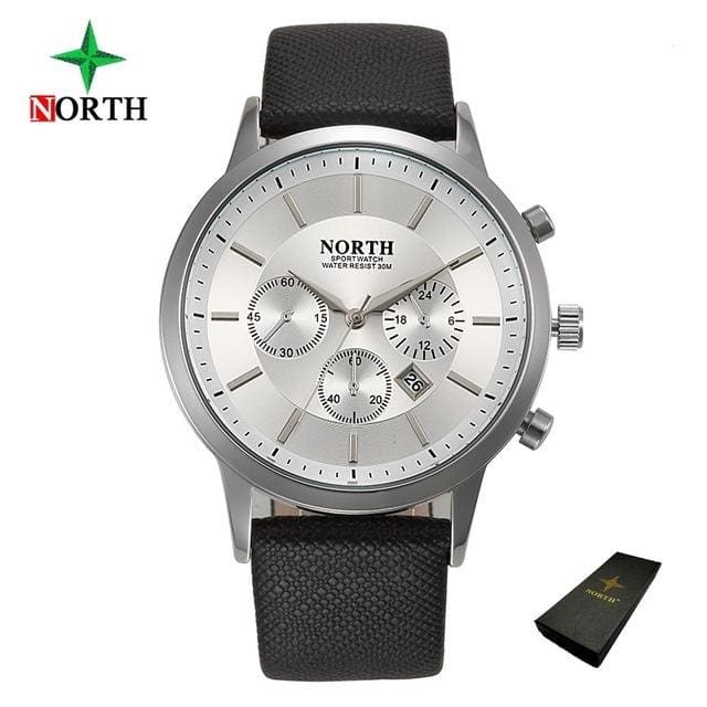 North Luxury Men Watches 2017 Waterproof Genuine Leather Fashion Casual Wristwatch Man Business White Box