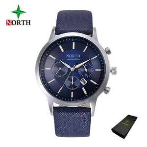 North Luxury Men Watches 2017 Waterproof Genuine Leather Fashion Casual Wristwatch Man Business Blue Box