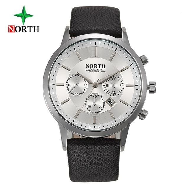 North Luxury Men Watches 2017 Waterproof Genuine Leather Fashion Casual Wristwatch Man Business White