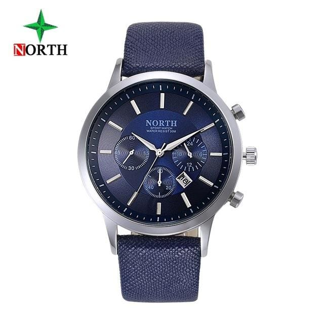 North Luxury Men Watches 2017 Waterproof Genuine Leather Fashion Casual Wristwatch Man Business Blue