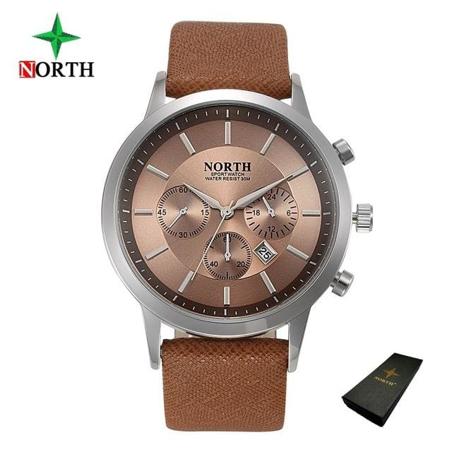 North Luxury Men Watches 2017 Waterproof Genuine Leather Fashion Casual Wristwatch Man Business Brown Box