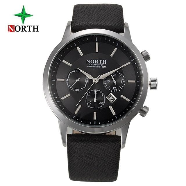 North Luxury Men Watches 2017 Waterproof Genuine Leather Fashion Casual Wristwatch Man Business Black