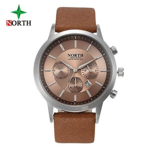 North Luxury Men Watches 2017 Waterproof Genuine Leather Fashion Casual Wristwatch Man Business Brown