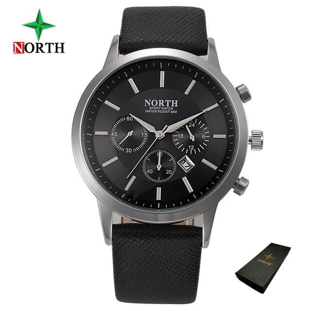 North Luxury Men Watches 2017 Waterproof Genuine Leather Fashion Casual Wristwatch Man Business Black Box