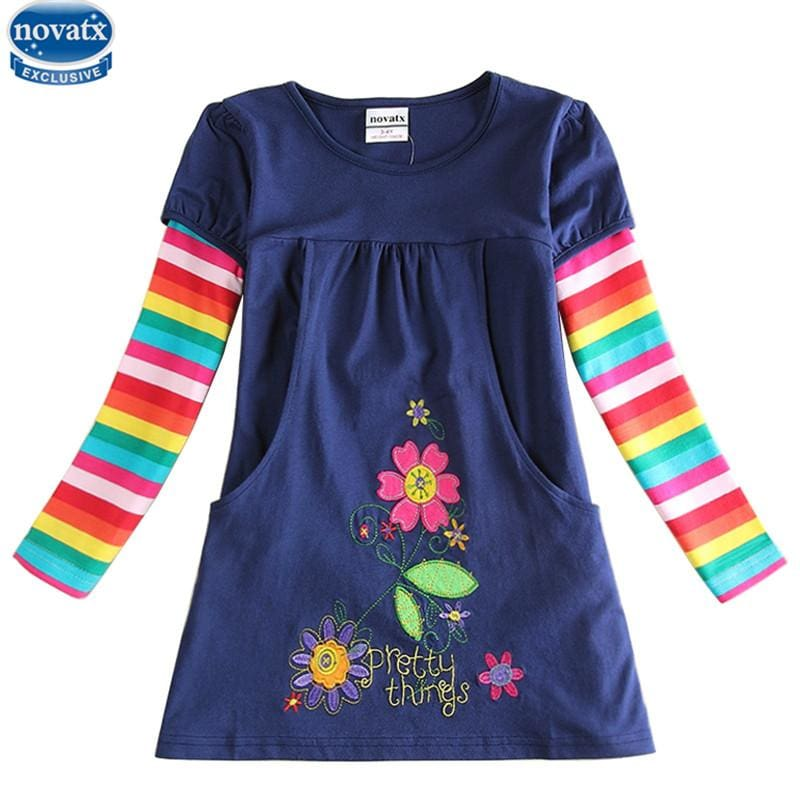 novatx  2017  newest design girls flower frocks children clothes hot dresses baby dresses long - MBMCITY