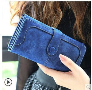 Nubuck Leather Women Wallets Female Fashion Zipper Small Wallet Women Short Coin Purse Holders Retro Long Army Green