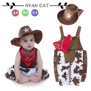 Nyan Cat Baby boy romper costume infant toddler cowboy clothing set 3pcs hat+scarf+romper halloween