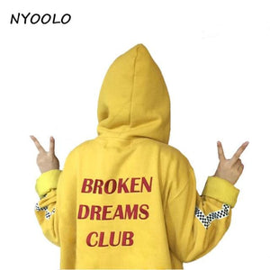 Nyoolo Style Harajuku Letters Print Autumn Winter Tops Loose Outerwear Fleece Pullovers Hooded Gold / One Size