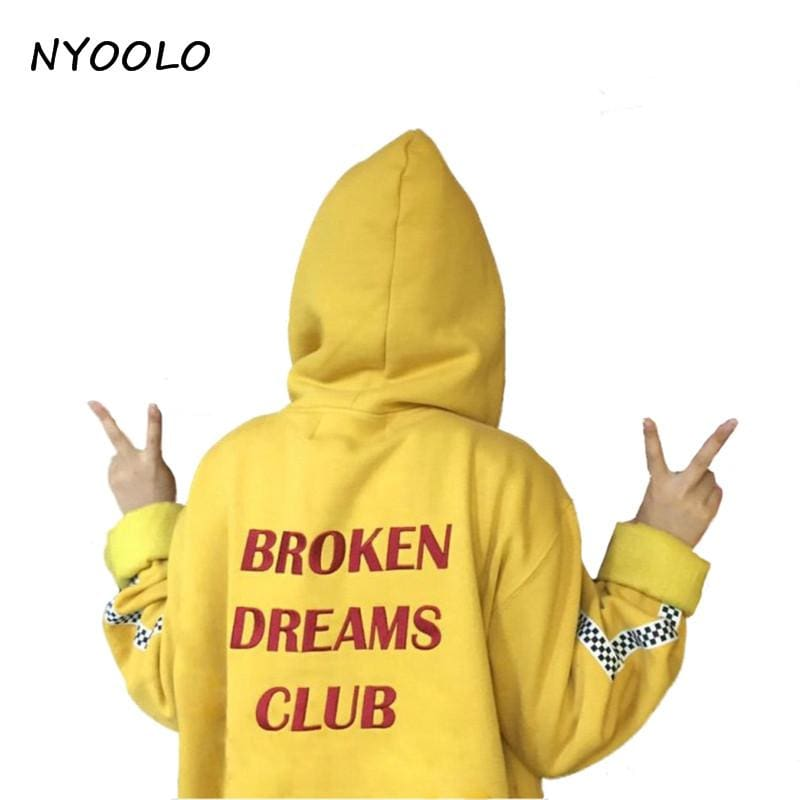 NYOOLO style Harajuku letters print autumn winter tops loose outerwear fleece pullovers hooded - MBMCITY