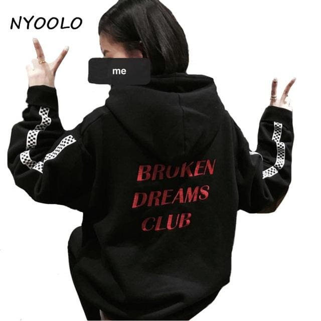 Nyoolo Style Harajuku Letters Print Autumn Winter Tops Loose Outerwear Fleece Pullovers Hooded Black / One Size