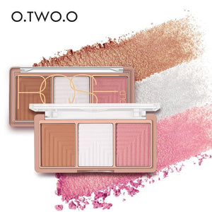 O.TWO.O 4 Colors Highlighter Powder Blush Brush Palette 3D Face Contour Highlighter Shading Powder - MBMCITY