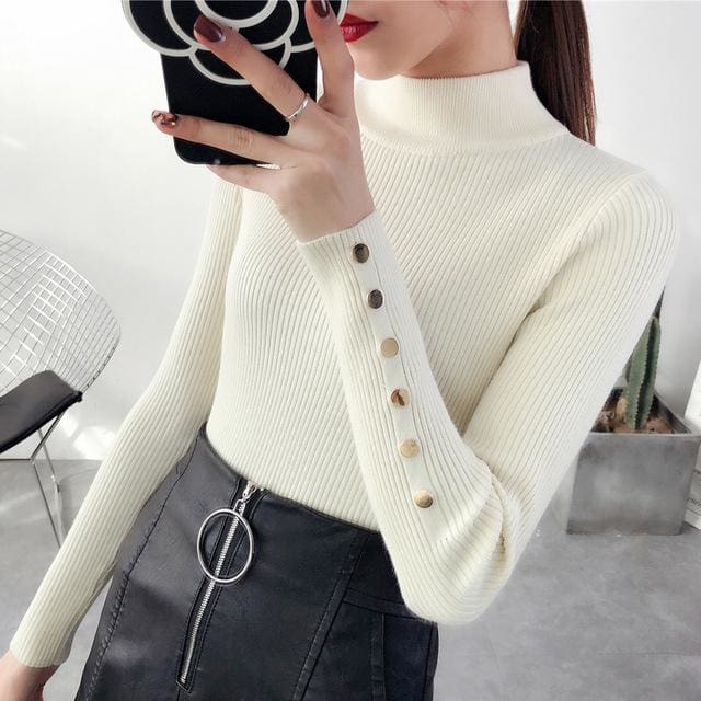 OHCLOTH Sweater female Half downneck female thickening 2018 new winter sweater slim all-match - MBMCITY