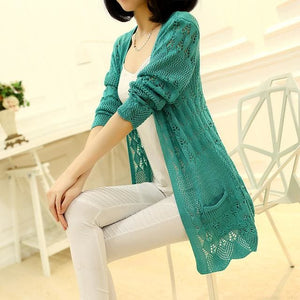 Ohclothing 2017 Fashion Knitted Cardigan Loose Pocket Hollow Long Sleeve Women Sweater Female Green / Xl