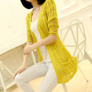 Ohclothing 2017 Fashion Knitted Cardigan Loose Pocket Hollow Long Sleeve Women Sweater Female Yellow / S