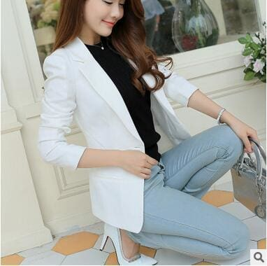 OHRYIYIE White Black Women Blazers And Jackets 2017 New Spring Autumn Fashion Single Button Blazer White / S