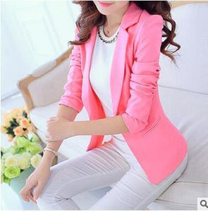 OHRYIYIE White Black Women Blazers And Jackets 2017 New Spring Autumn Fashion Single Button Blazer Pink / S
