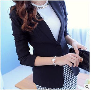 OHRYIYIE White Black Women Blazers And Jackets 2017 New Spring Autumn Fashion Single Button Blazer Black / S
