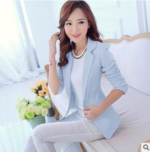 OHRYIYIE White Black Women Blazers And Jackets 2017 New Spring Autumn Fashion Single Button Blazer Sky Blue / S