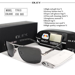 42ac40e9d9 ... Oley Brand Polarized Sunglasses Men New Fashion Eyes Protect Sun Glasses  With Accessories Unisex Y7613 C5
