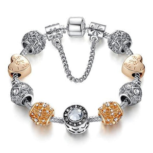 Original Silver 925 Crystal Four Leaf Clover Bracelet with Clear Murano Glass Beads Charm Bracelet PS3496 / 17cm