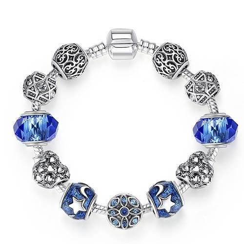 Original Silver 925 Crystal Four Leaf Clover Bracelet with Clear Murano Glass Beads Charm Bracelet PS3866 / 17cm