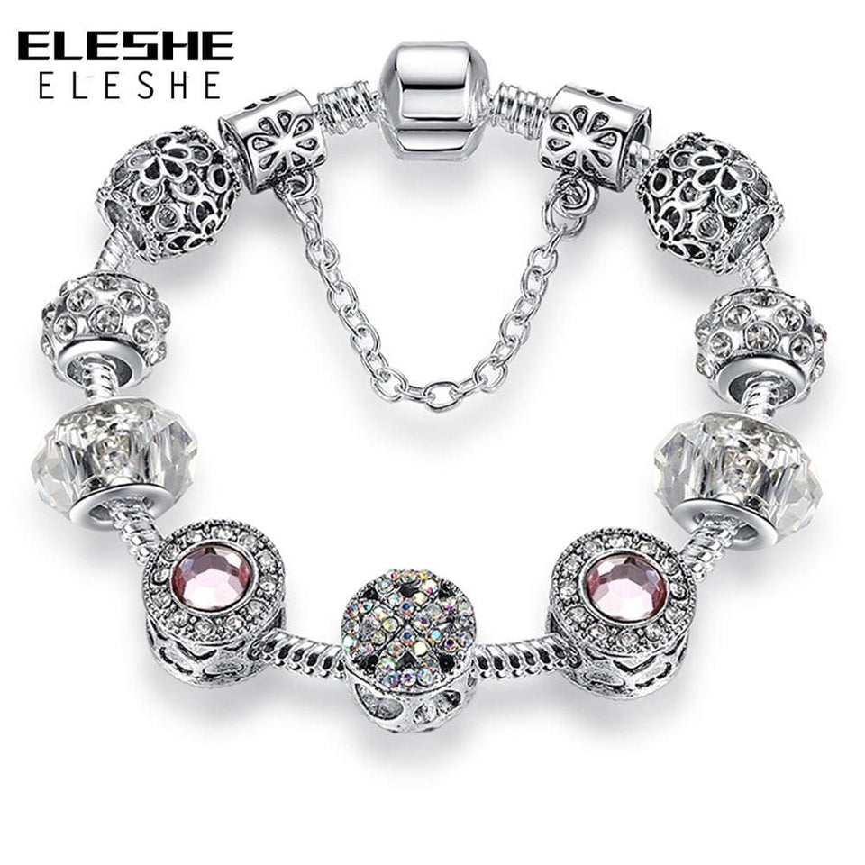 Original Silver 925 Crystal Four Leaf Clover Bracelet with Clear Murano Glass Beads Charm Bracelet