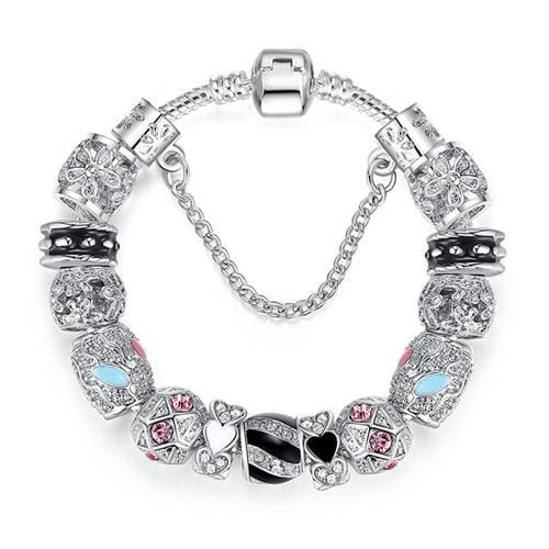 Original Silver 925 Crystal Four Leaf Clover Bracelet with Clear Murano Glass Beads Charm Bracelet PS3149 / 17cm