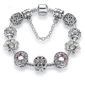 Original Silver 925 Crystal Four Leaf Clover Bracelet with Clear Murano Glass Beads Charm Bracelet PS3729 / 17cm