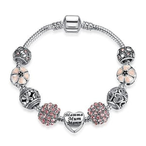 Original Silver 925 Crystal Four Leaf Clover Bracelet with Clear Murano Glass Beads Charm Bracelet PS3808 / 17cm