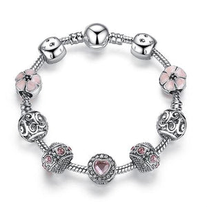 Original Silver 925 Crystal Four Leaf Clover Bracelet with Clear Murano Glass Beads Charm Bracelet PS3819 / 17cm